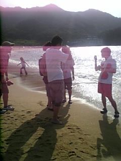 海辺で撮影